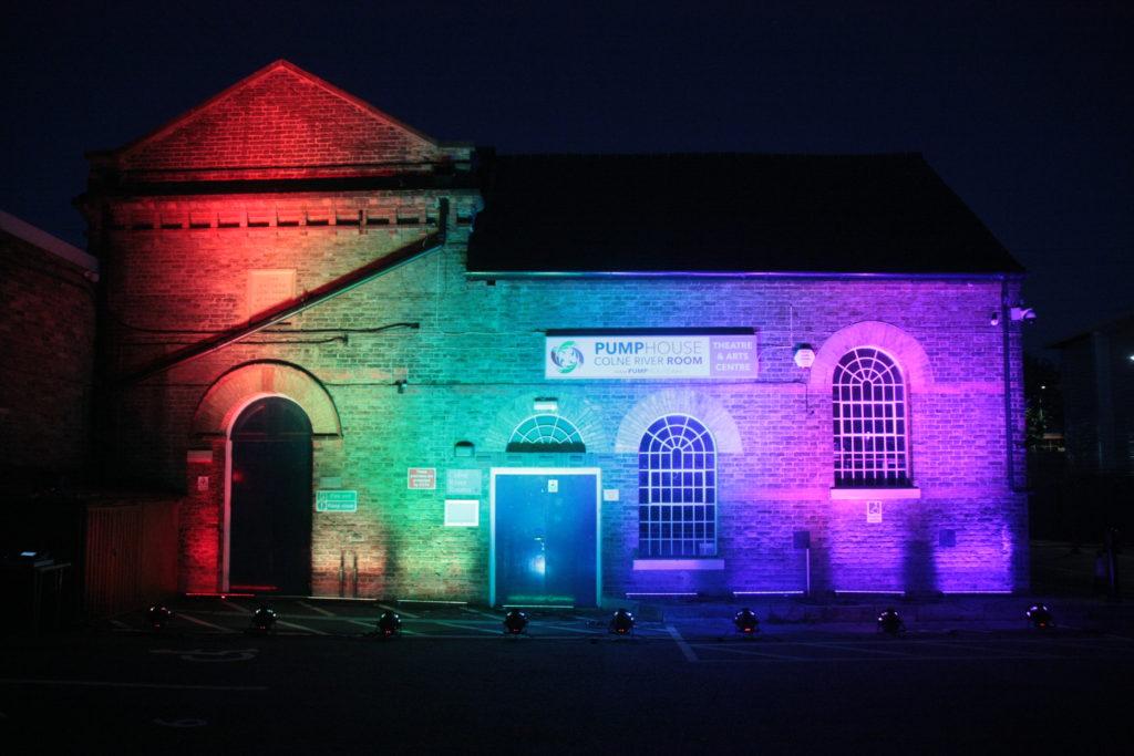 Pump House exterior night lights